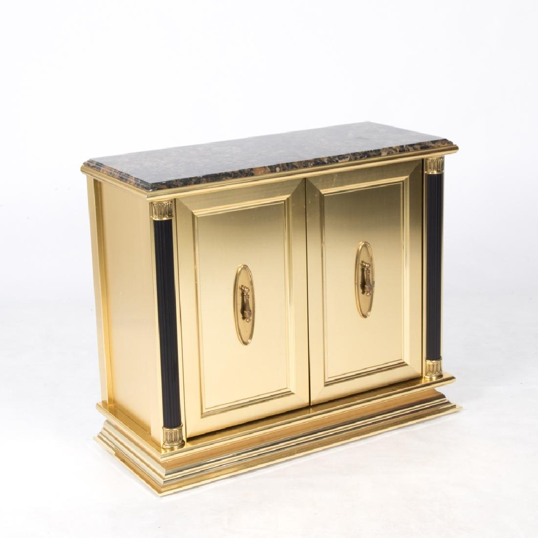 An Italian Gilt Painted Cabinet with Faux Marble Top,