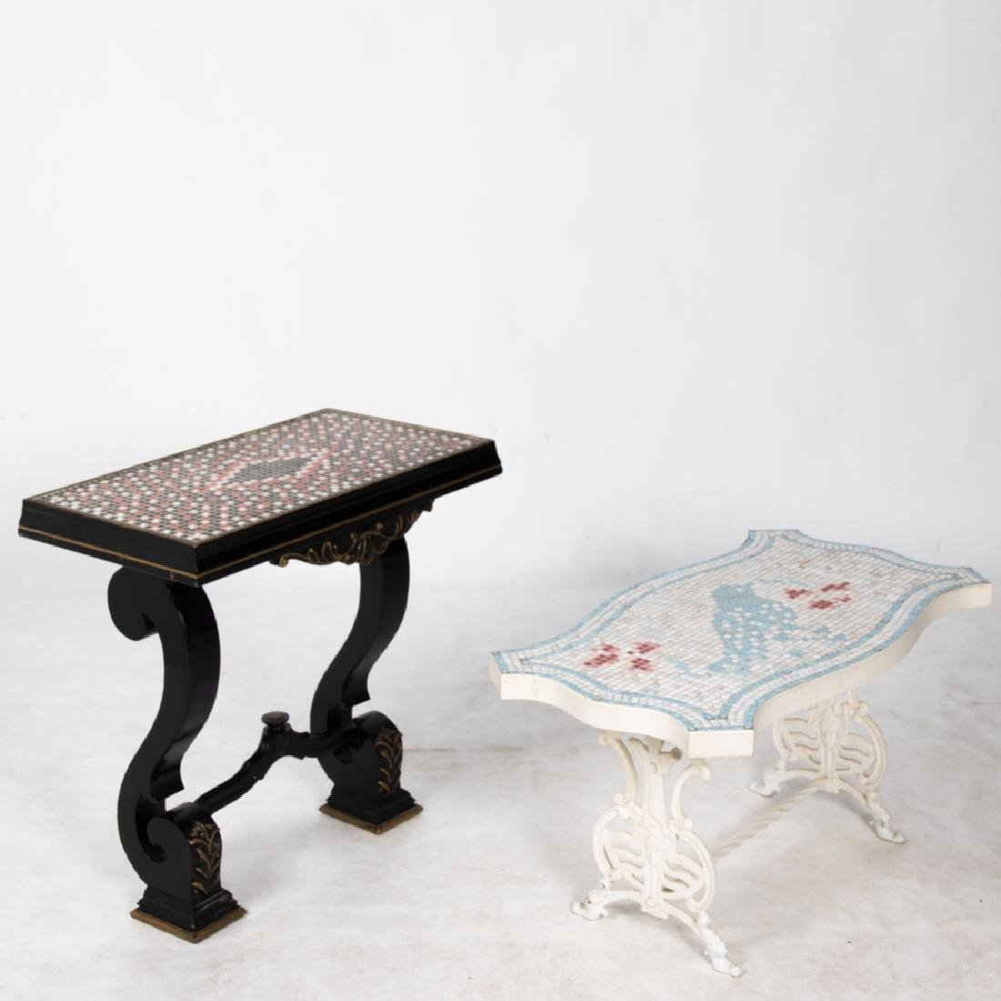 A Painted Wrought Metal and Mosaic Low Table, 20th