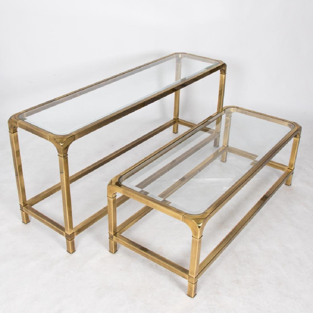 Two Contemporary Brass and Beveled Glass Tables, 20th