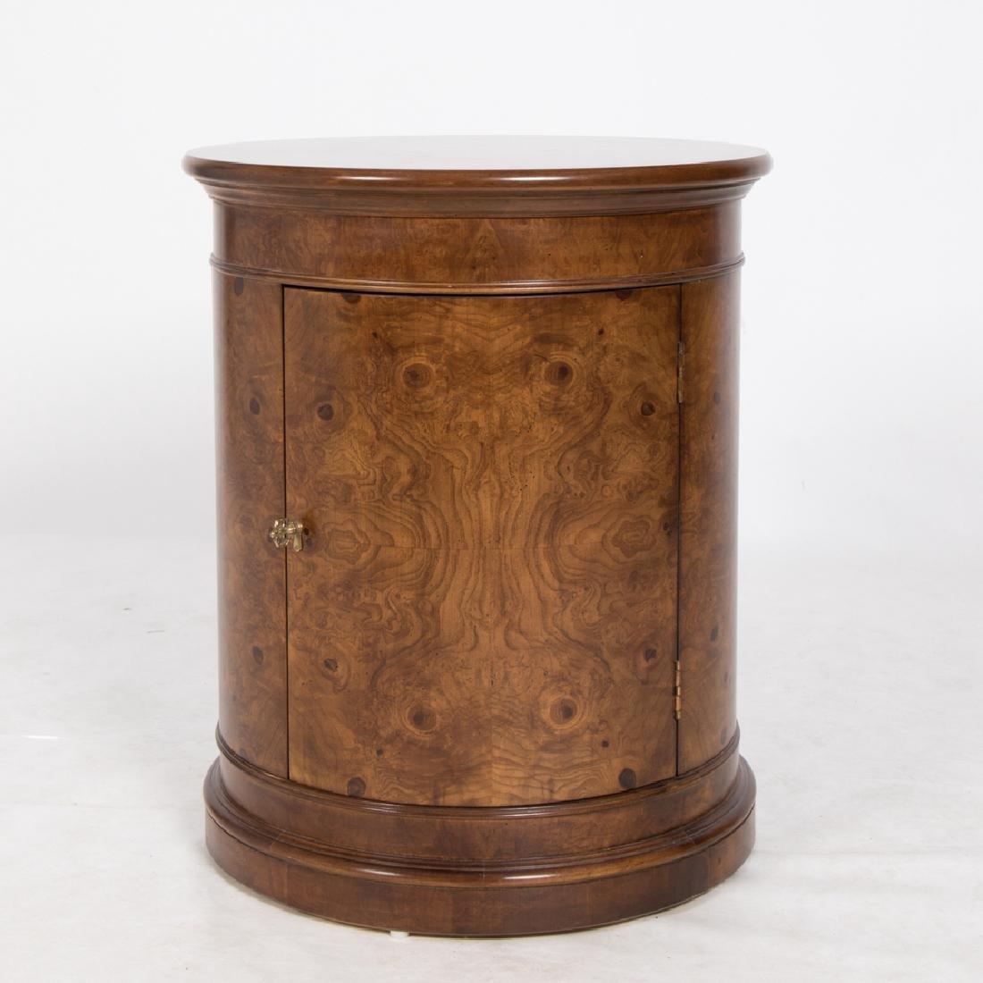 A Georgian Style Burled Walnut Circular Side Cabinet,