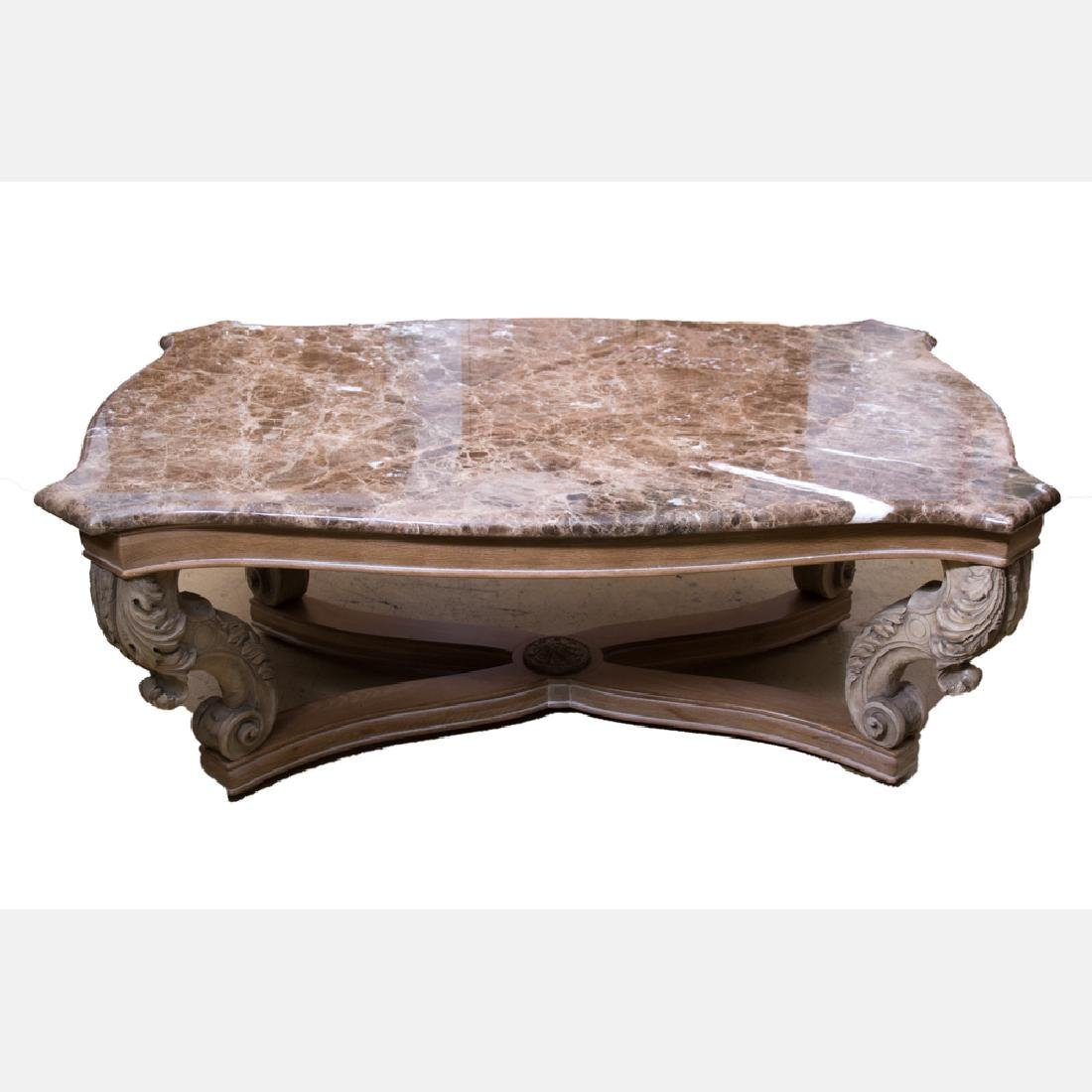 A Henredon Neoclassical Style Carved Oak Low Table with