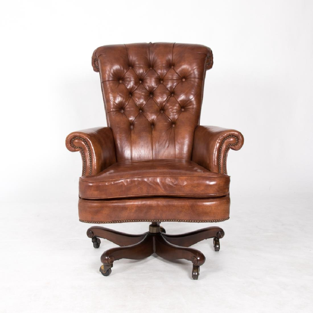 A Tufted Faux Leather Desk Swivel Chair, 20th Century.