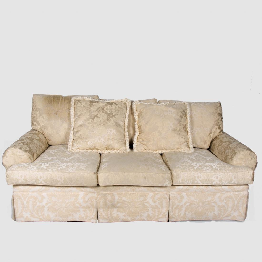 A Henredon Ivory Damask Upholstered Sofa, 20th Century.