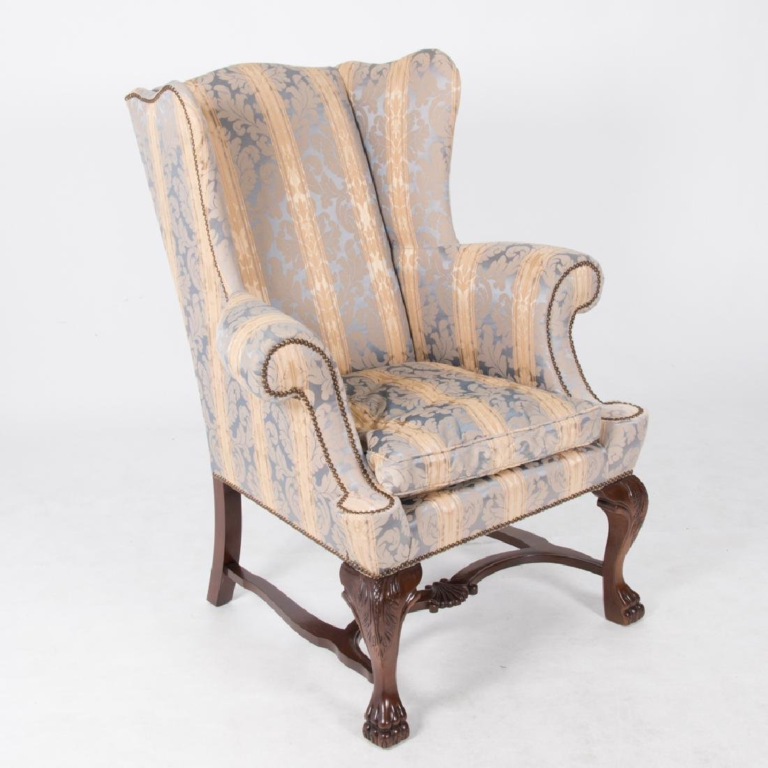 A Baker Furniture Georgian Style Damask Upholstered