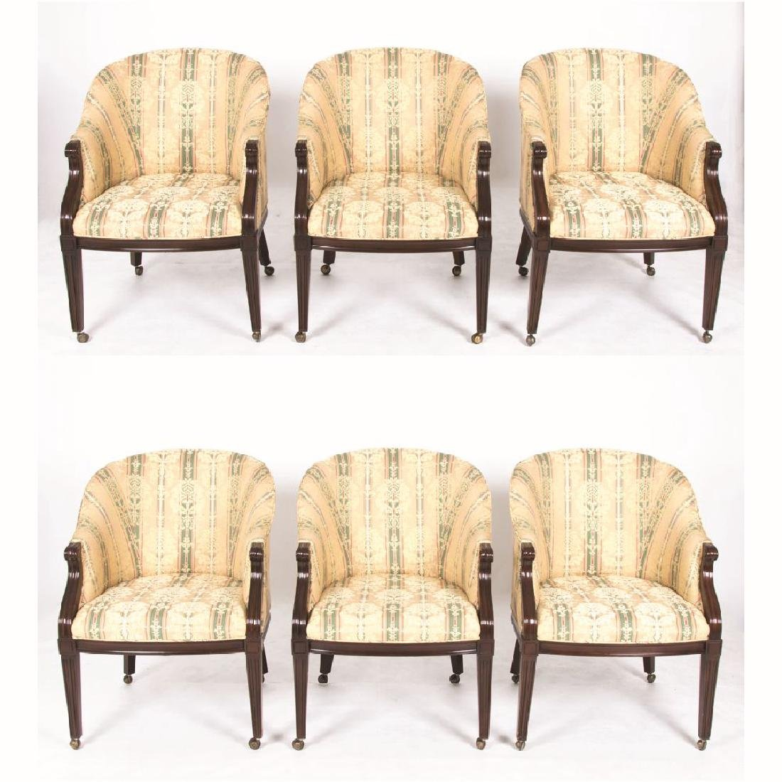 A Set of Six Baker Furniture Regency Style Damask