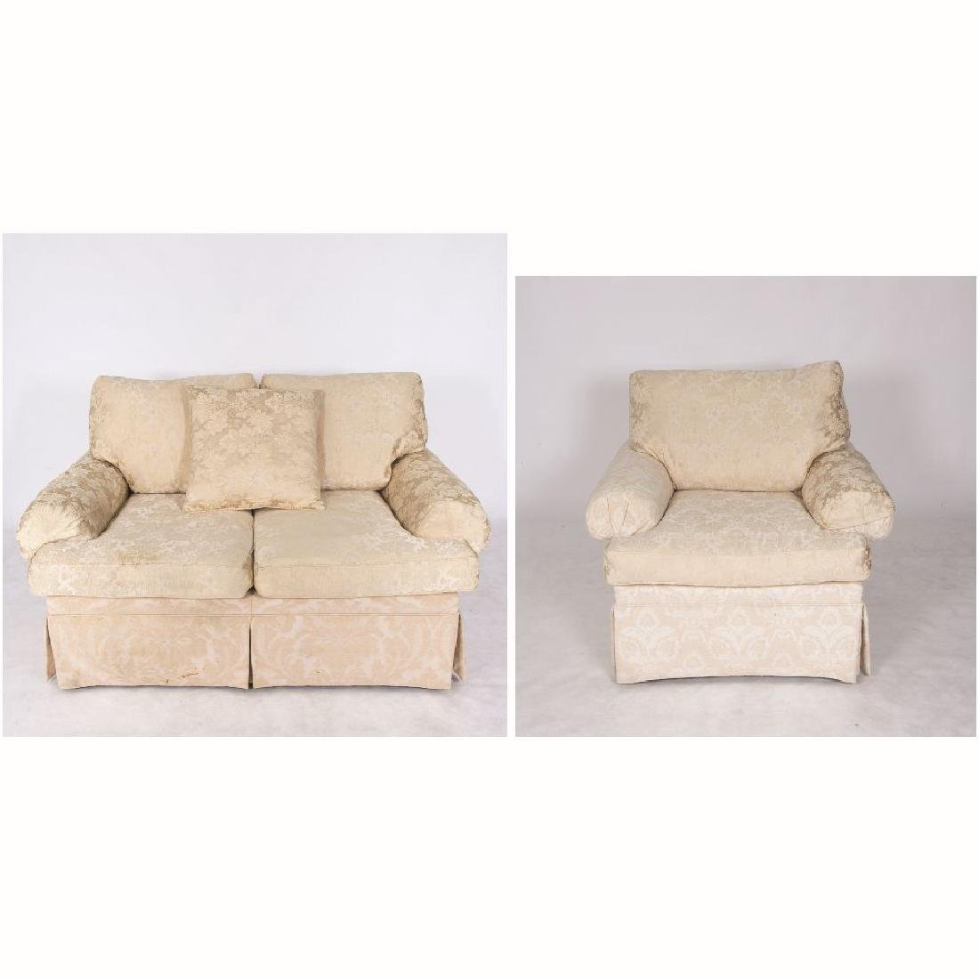 A Henredon Ivory Damask Upholstered Settee and