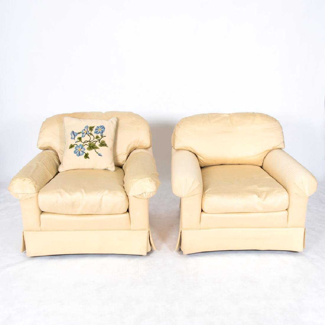 A Pair of Henredon Cream Satin Upholstered Club Chairs,