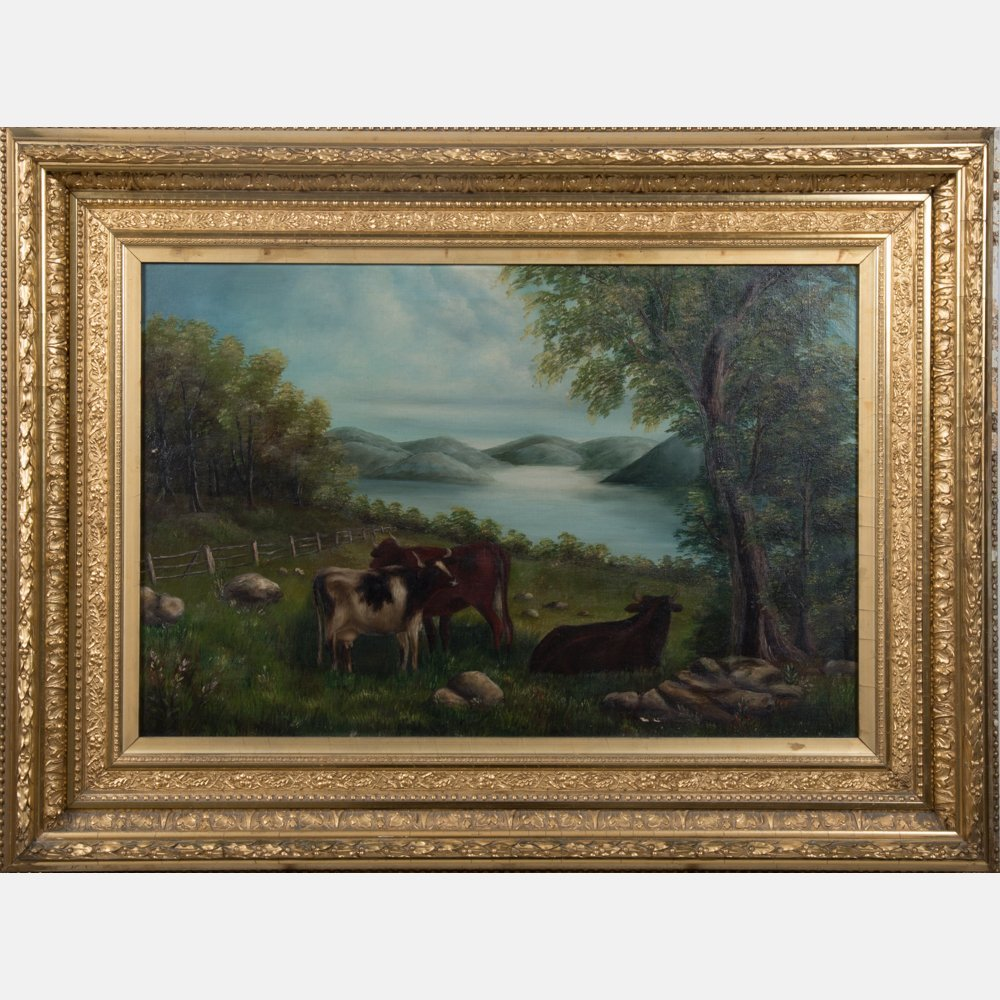 American School (19th Century) Landscape with Cattle,