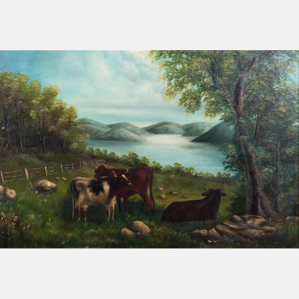 American School (19th Century) Landscape with Cattle, - 2