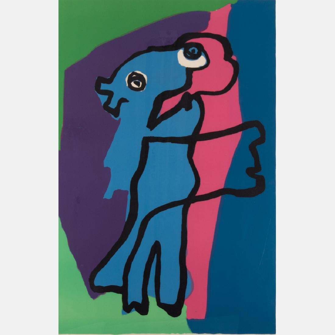 Karel Appel (1921-2006) Walking Alone, Serigraph,