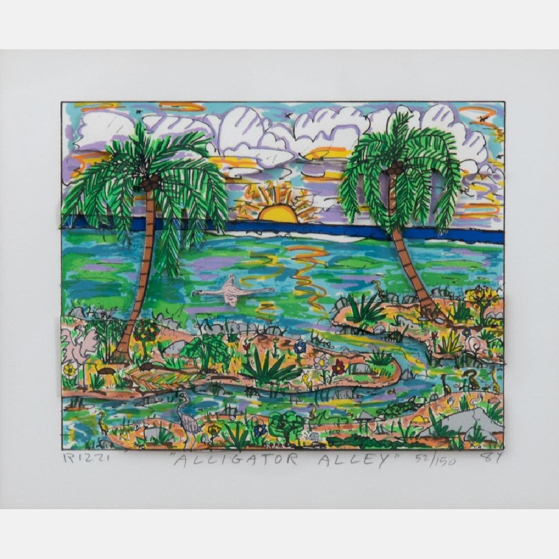 James Rizzi (1950-2011) Alligator Alley, 3D serigraph,