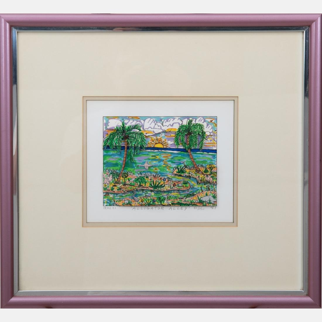 James Rizzi (1950-2011) Alligator Alley, 3D serigraph, - 2