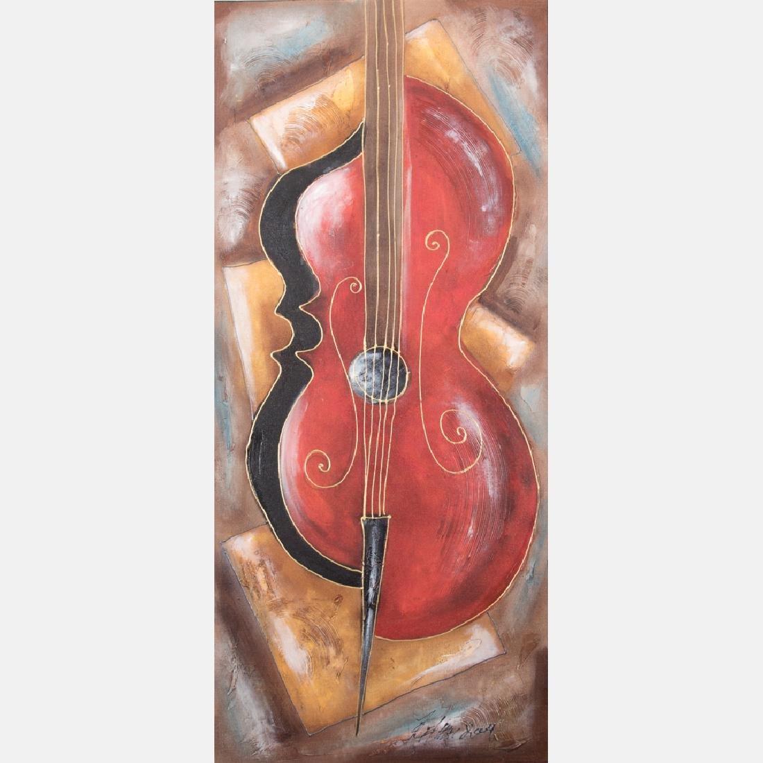 Oz El Hai (20th Century) The Solo Bass, Oil on canvas,