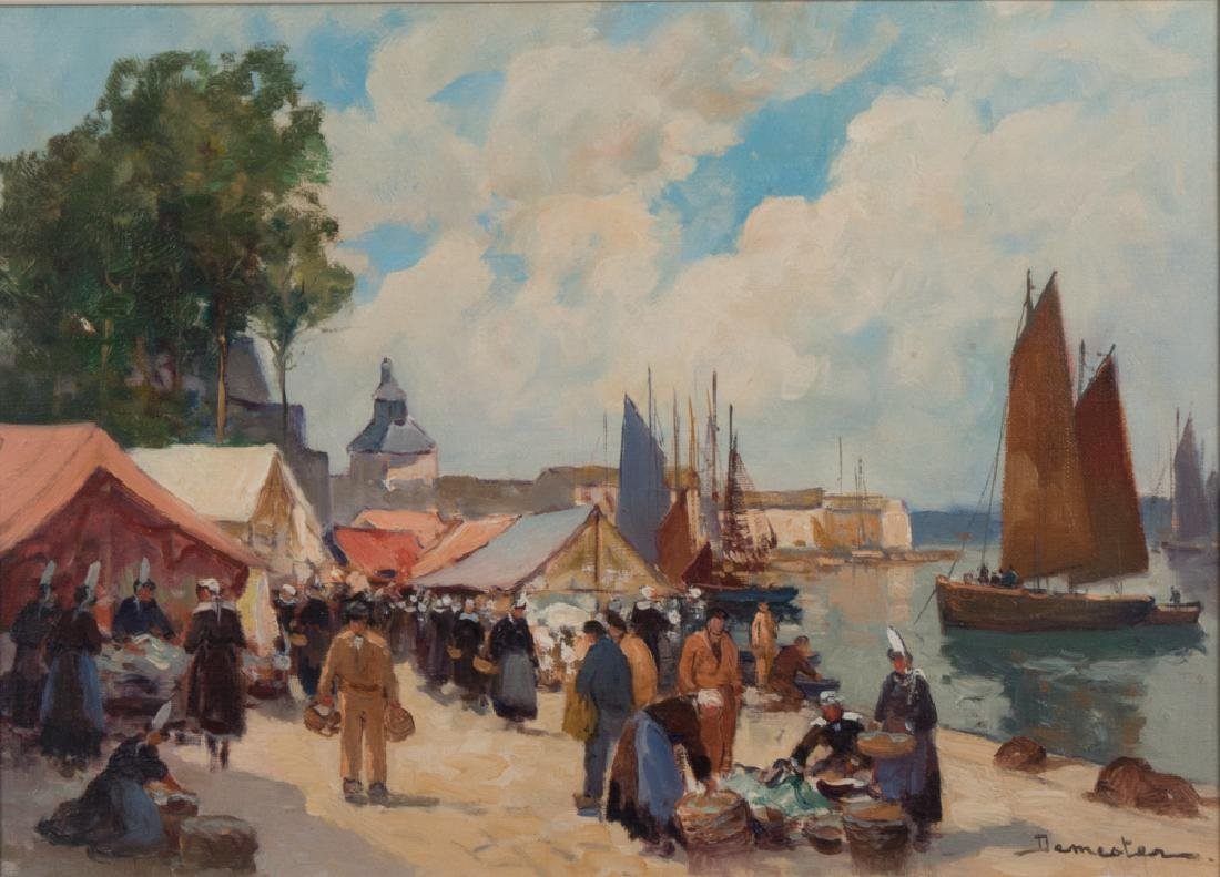 Eugene Demester (b. 1914) Market Scene, Oil on canvas,