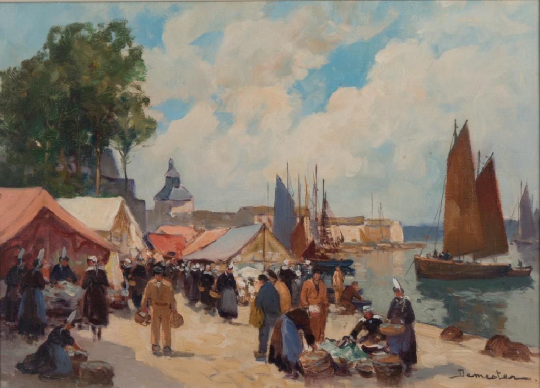 Eugene Demester (b. 1914) Market Scene, Oil on canvas,