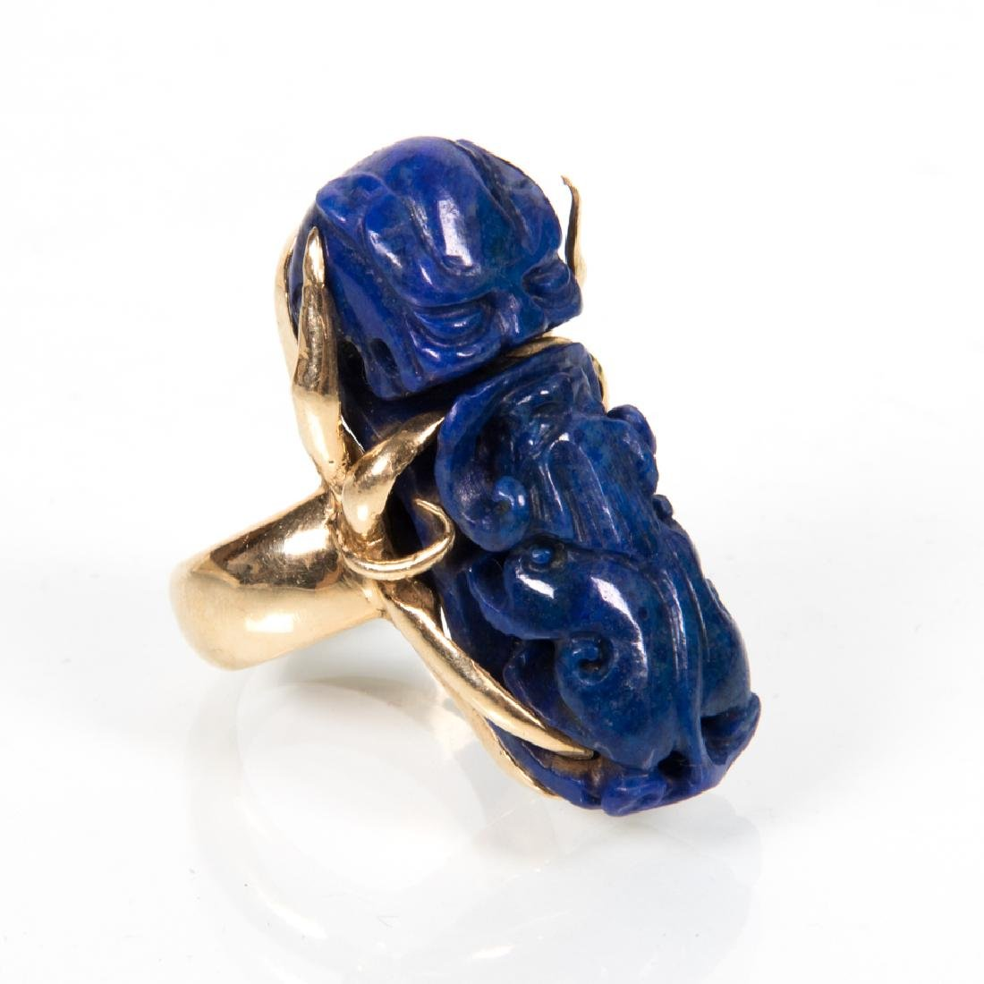 A 14kt. Yellow Gold and Pierced Carved Lapis Ring,
