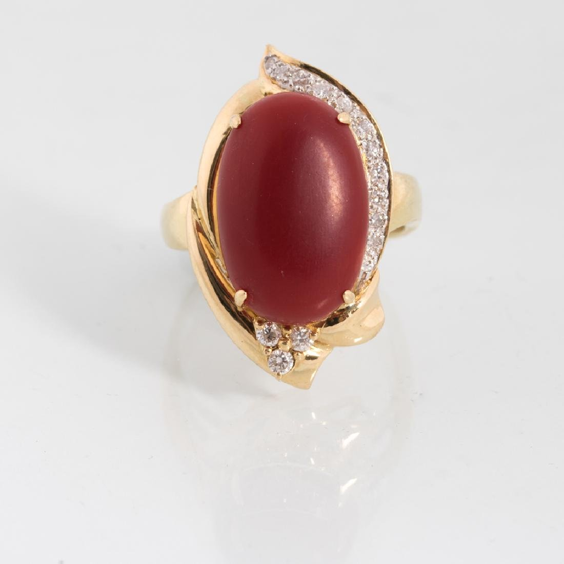 An 18kt. Yellow Gold, Carnelian and Diamond Ring,