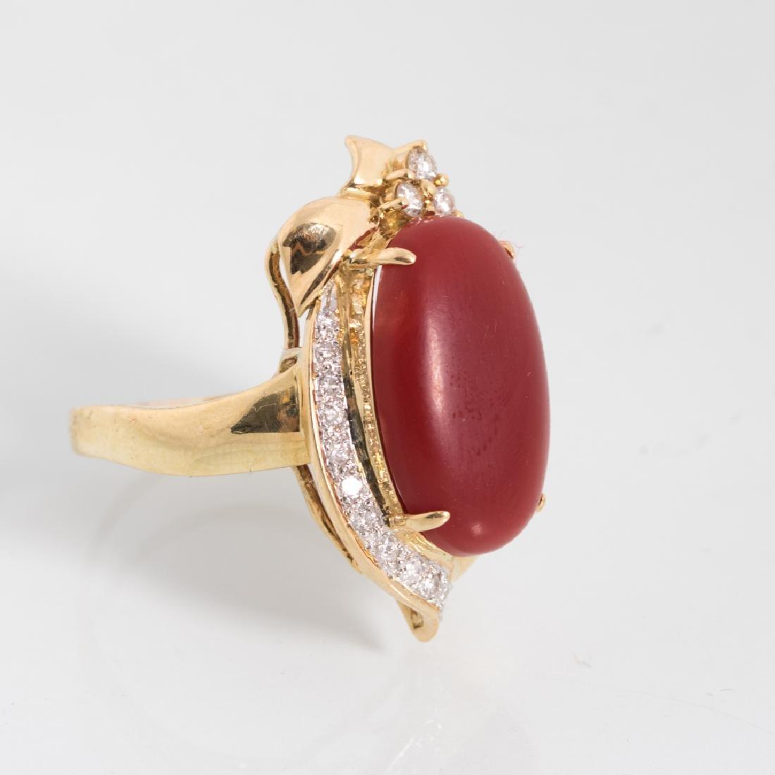 An 18kt. Yellow Gold, Carnelian and Diamond Ring, - 2