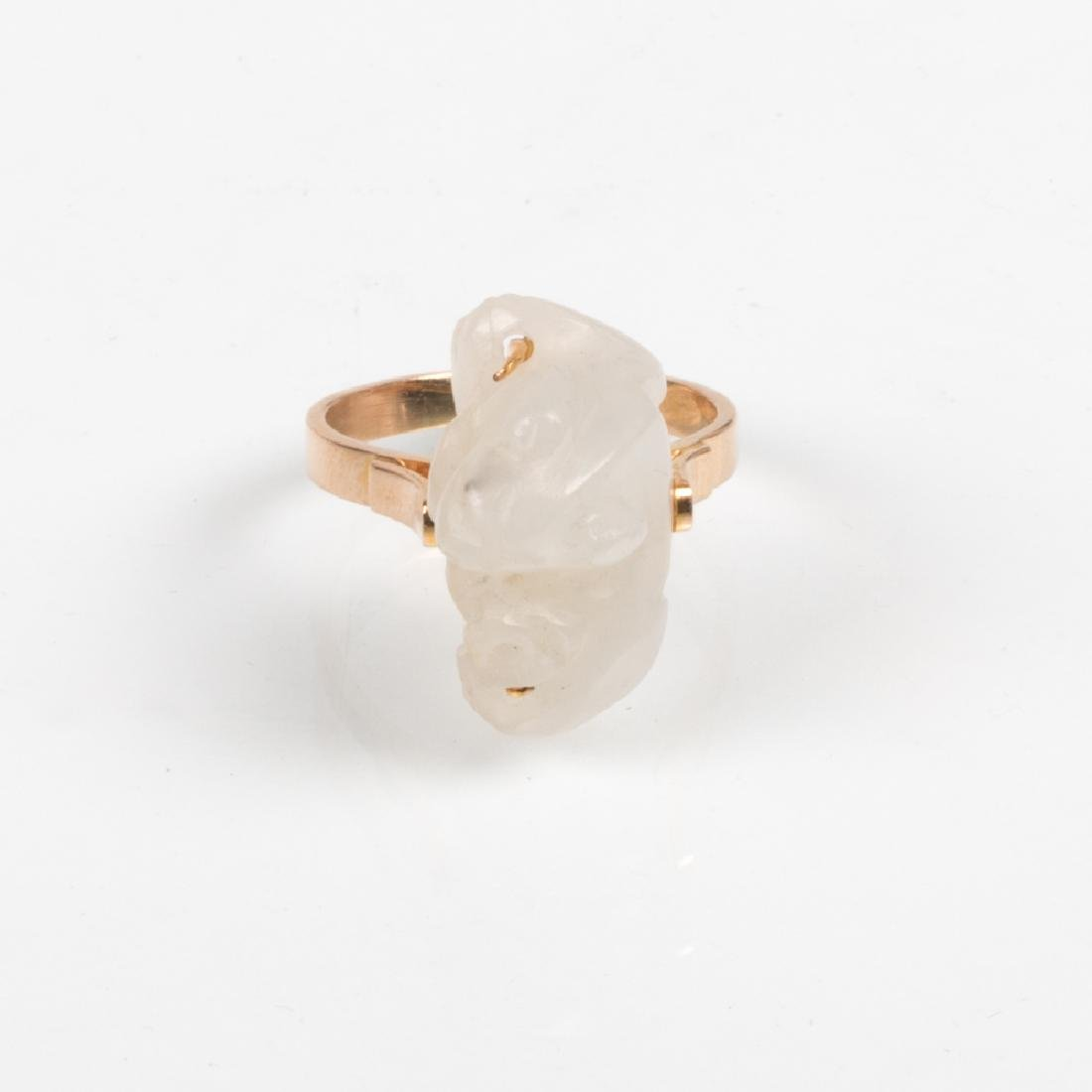 A 14kt. Yellow Gold and Carved White Jade Ring,
