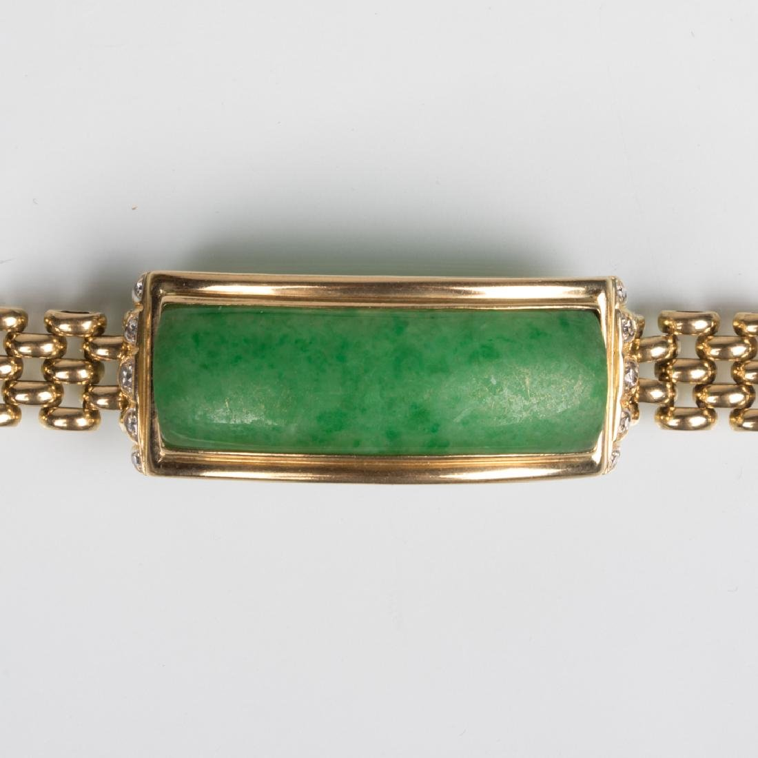 A 14kt. Yellow Gold, Green Jade and Diamond Bracelet,
