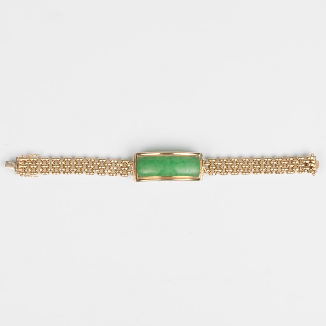 A 14kt. Yellow Gold, Green Jade and Diamond Bracelet, - 2