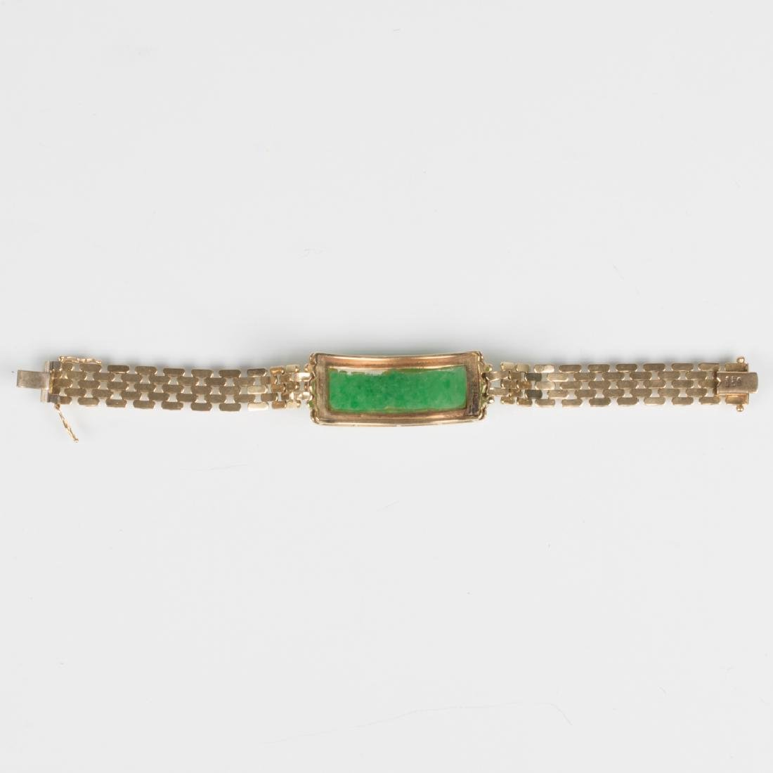 A 14kt. Yellow Gold, Green Jade and Diamond Bracelet, - 3