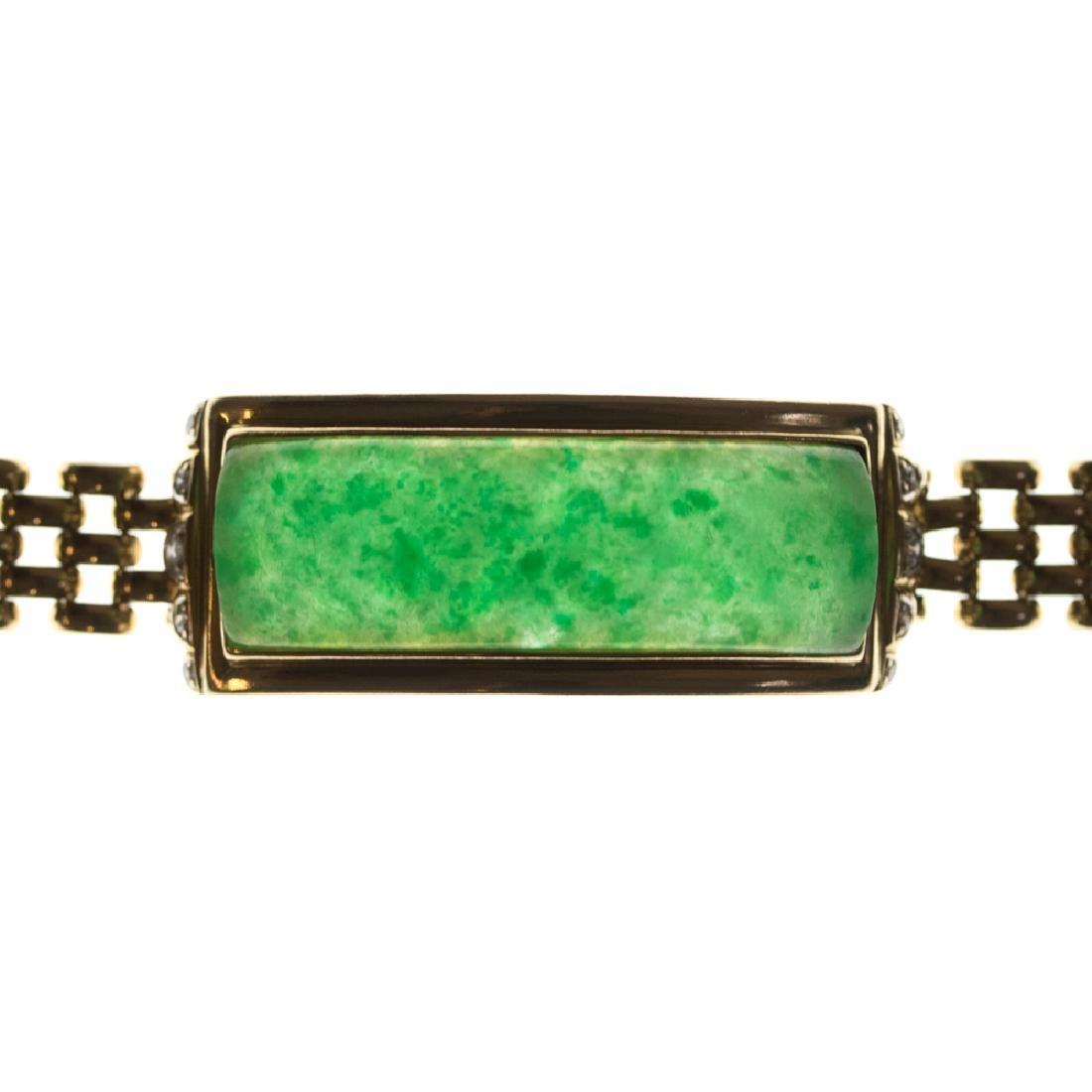A 14kt. Yellow Gold, Green Jade and Diamond Bracelet, - 5