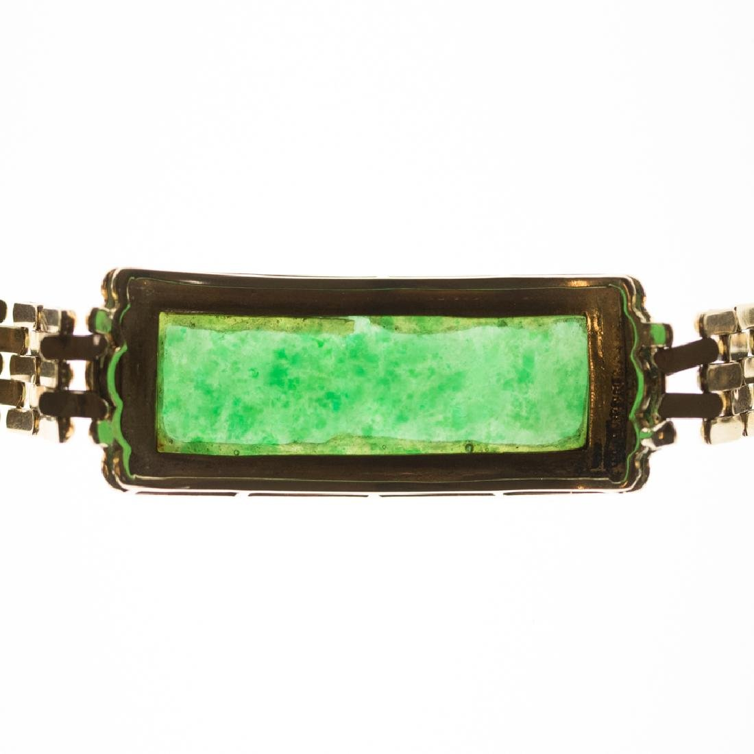 A 14kt. Yellow Gold, Green Jade and Diamond Bracelet, - 6