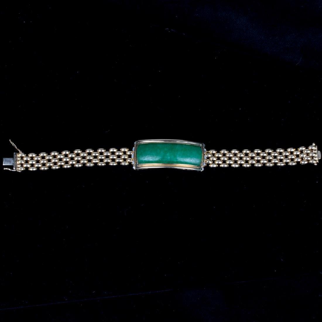 A 14kt. Yellow Gold, Green Jade and Diamond Bracelet, - 7