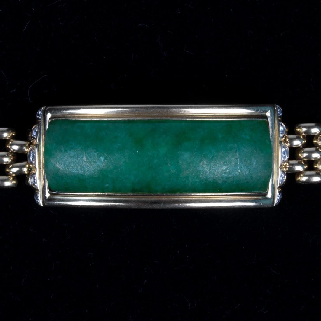 A 14kt. Yellow Gold, Green Jade and Diamond Bracelet, - 8