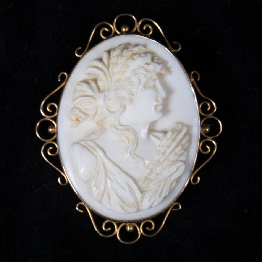 A 9kt. Yellow Gold and Carved Shell Cameo Brooch.