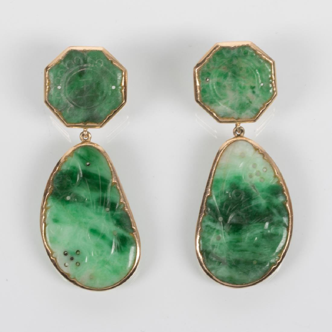 A Pair of 14kt. Yellow Gold, Carved Spinach and White