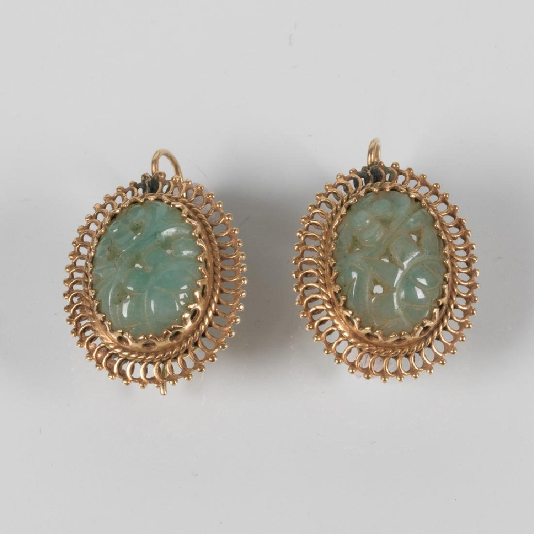 A Pair of 14kt. Yellow Gold and Pierced Carved Green