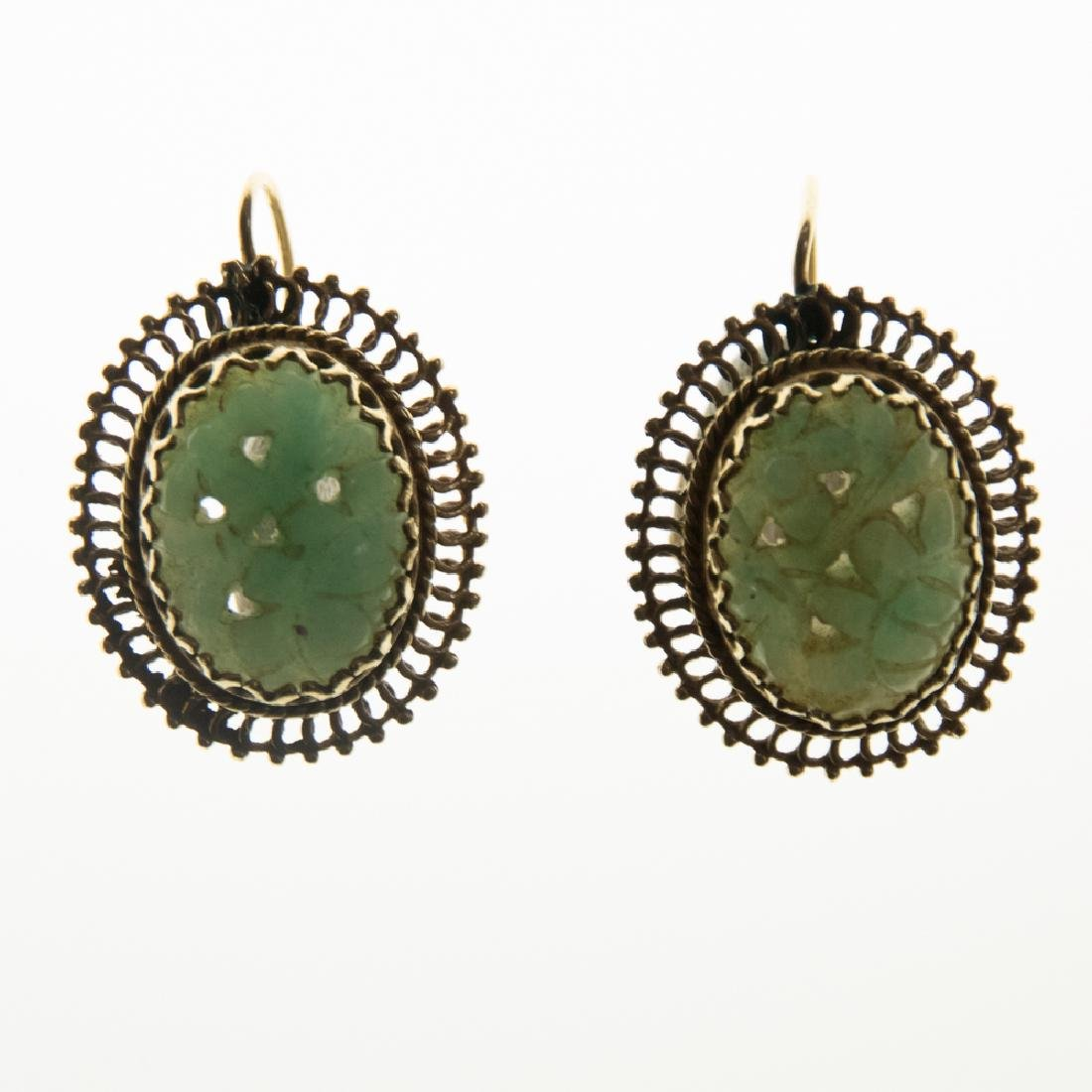 A Pair of 14kt. Yellow Gold and Pierced Carved Green - 3