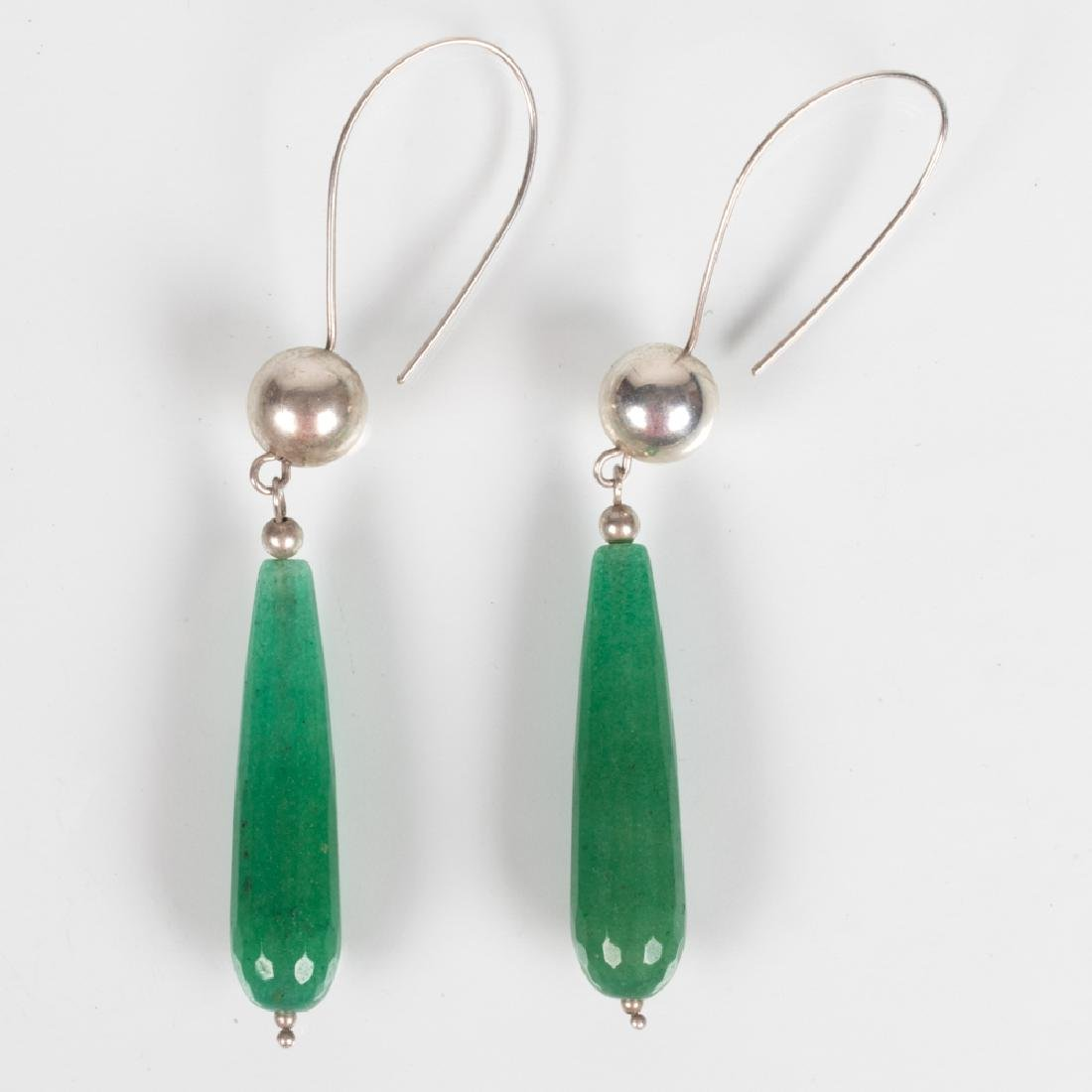 A Pair of Silver and Spinach Jade Drop Earrings.