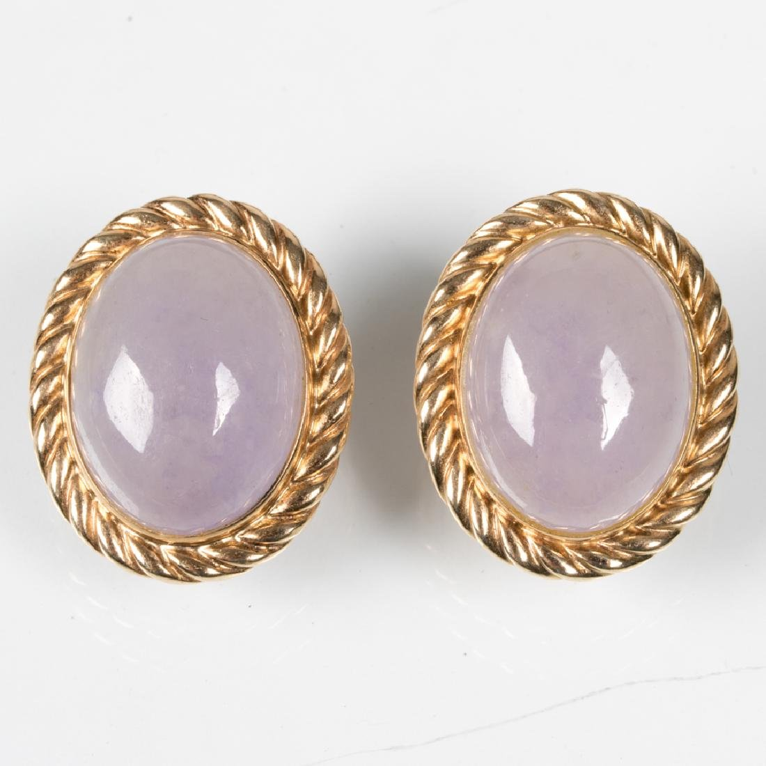 A Pair of 14kt. Yellow Gold and Lavender Jade Earrings.
