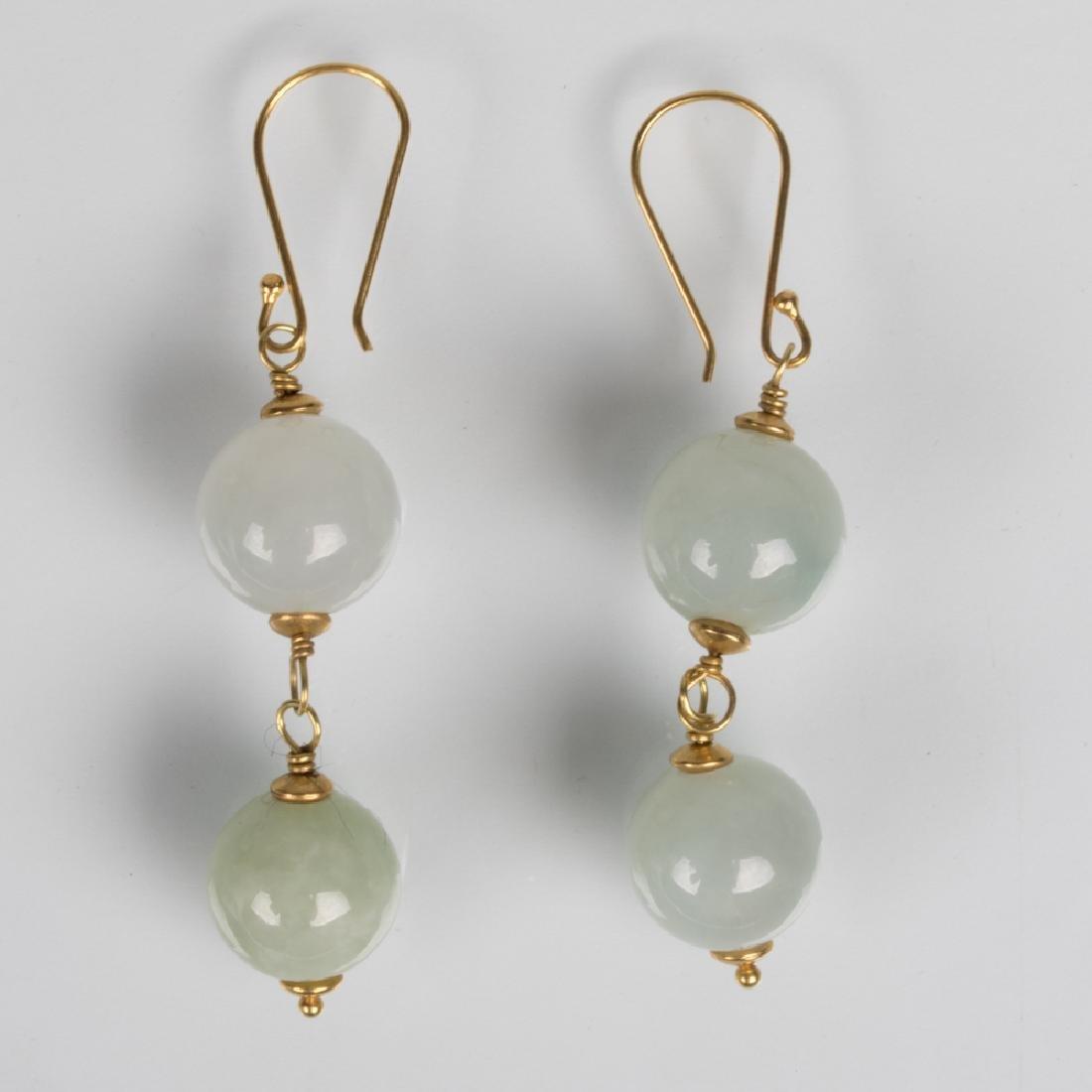 A Pair of 14kt. Yellow Gold and Celadon Jade Drop