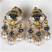 A Pair of 18kt. White and Yellow Gold, Sapphire,