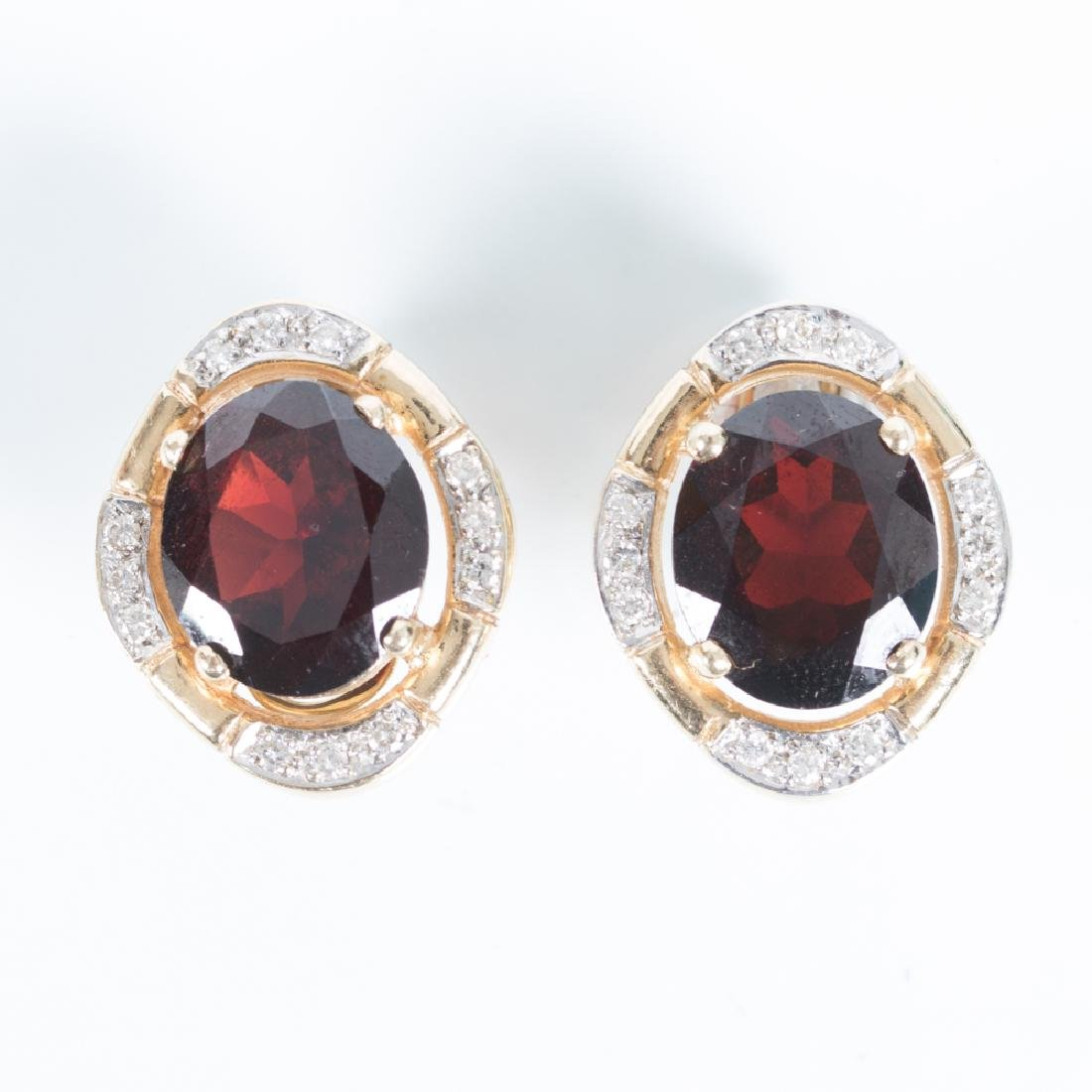 A Pair of 14kt. Yellow Gold, Diamond and Brown Garnet
