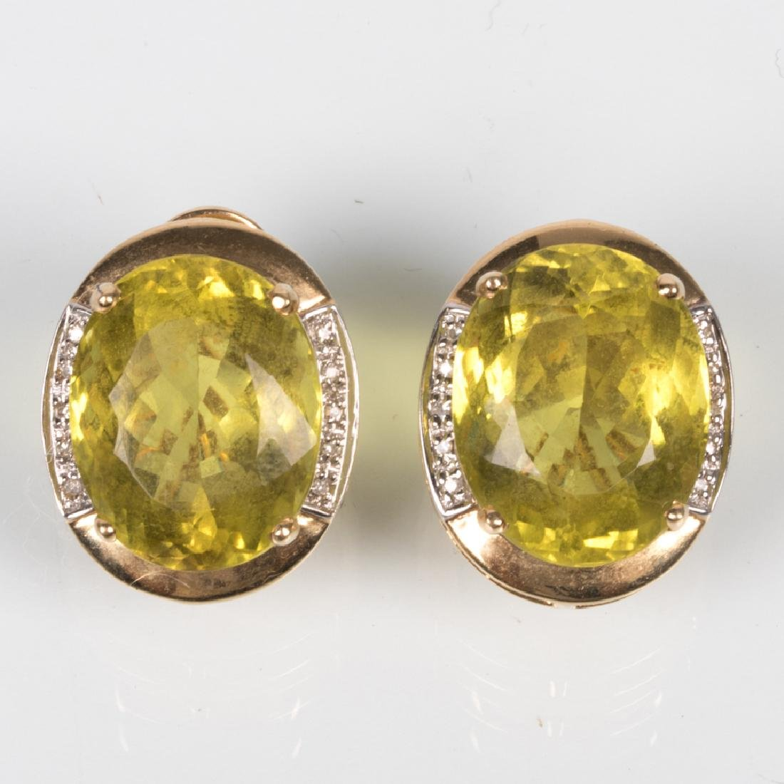 A Pair of 14kt. Yellow Gold, Citrine and Diamond