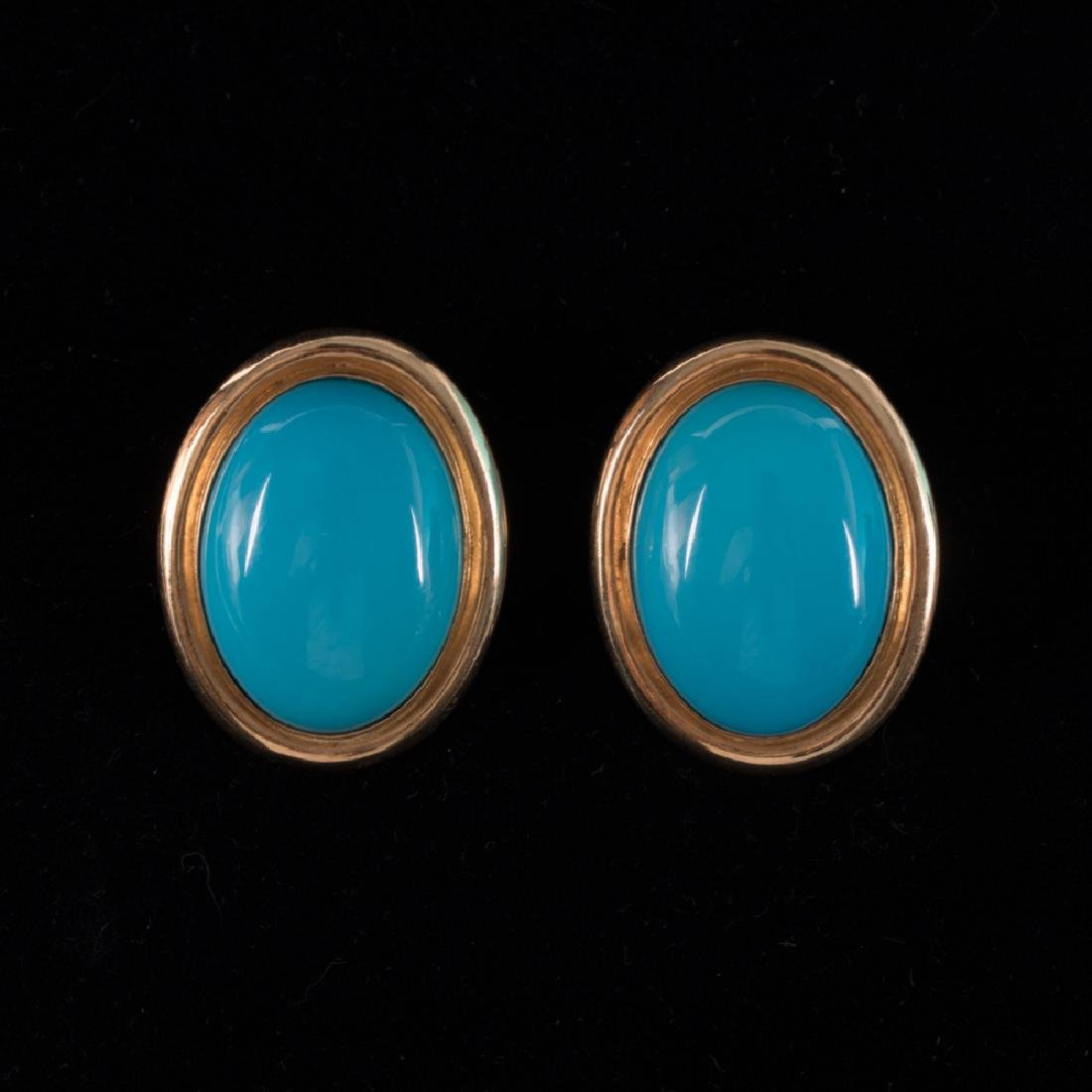 A Pair of 14kt. Yellow Gold and Turquoise Colored Stone