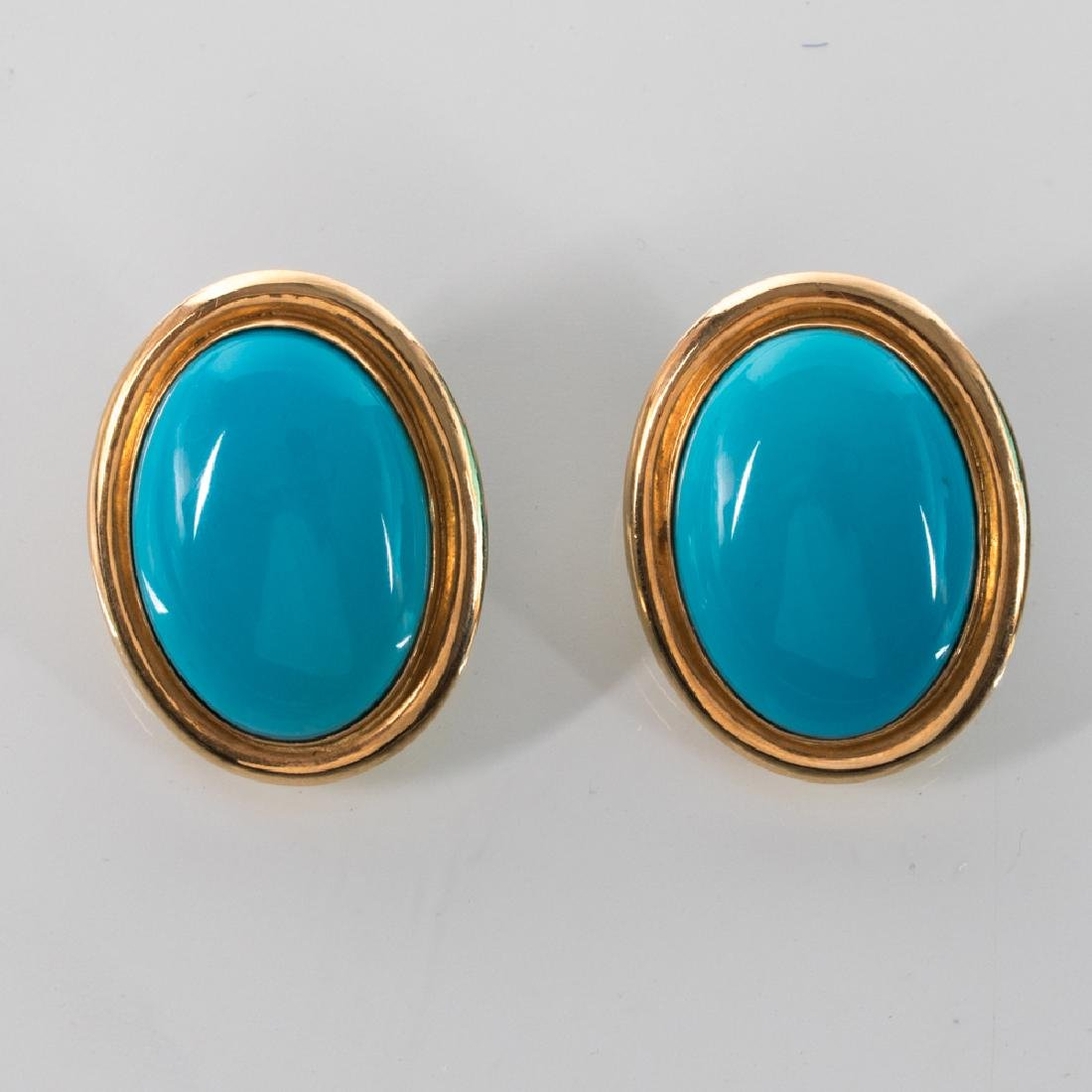 A Pair of 14kt. Yellow Gold and Turquoise Colored Stone - 2
