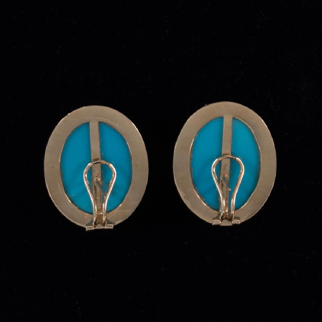 A Pair of 14kt. Yellow Gold and Turquoise Colored Stone - 3