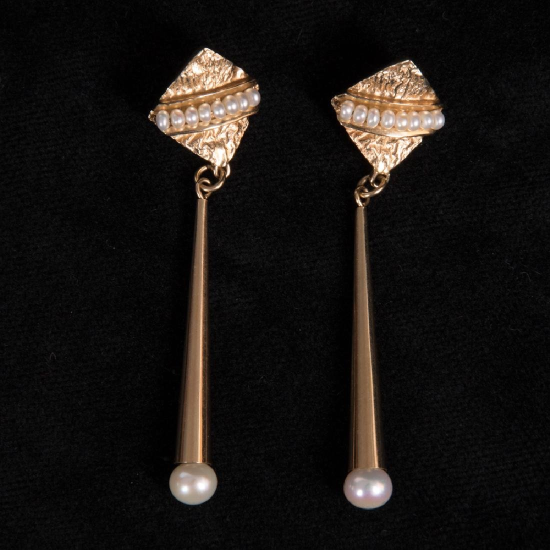 A Pair of 14kt. Yellow Gold and Pearl Drop Earrings,