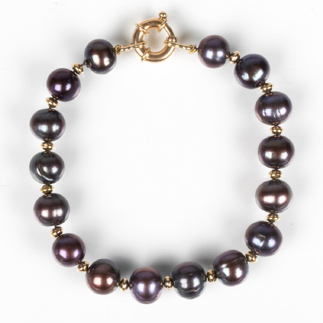 A 14kt. Yellow Gold and Black Cultured Pearl Bracelet,