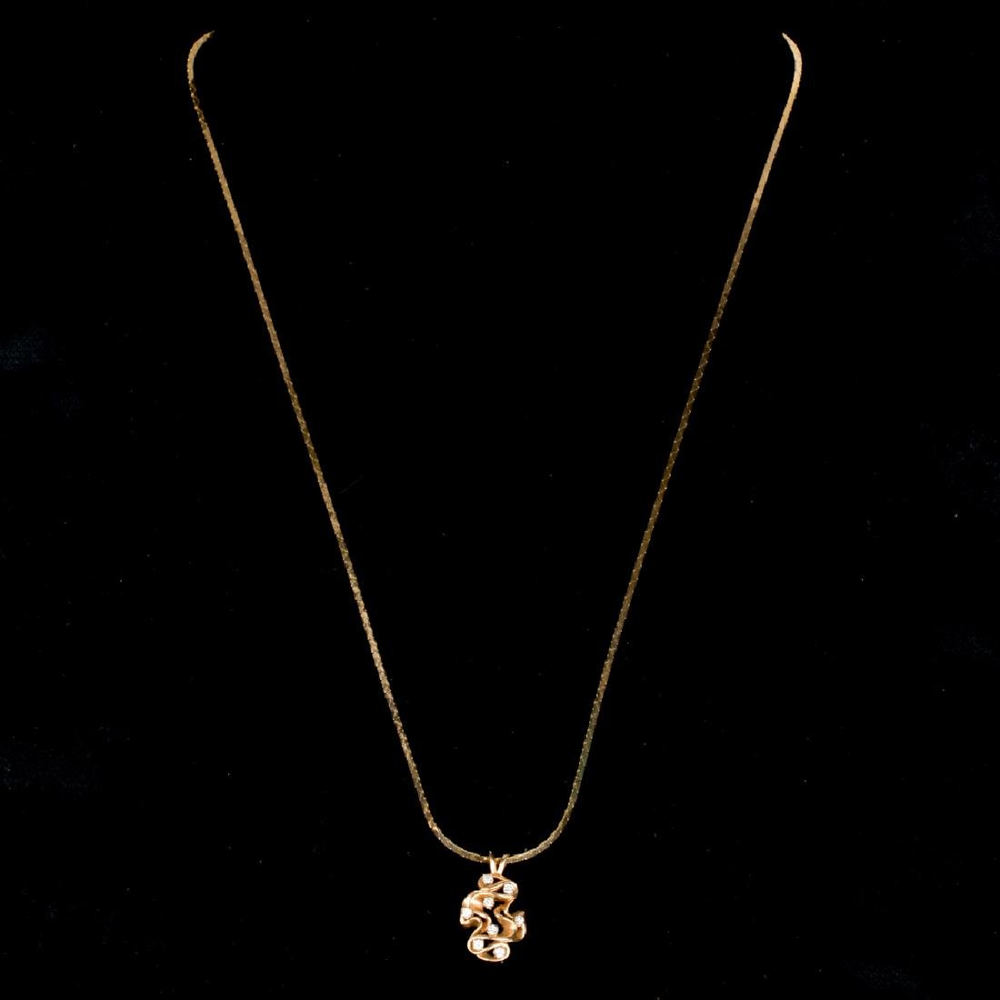 A 14kt. Yellow Gold and Diamond Pendant, - 3