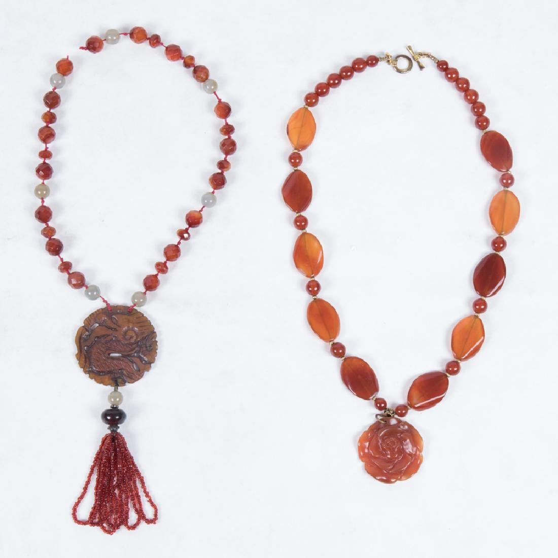 Two Colored Hardstone, Glass and Jade Beaded Necklaces.