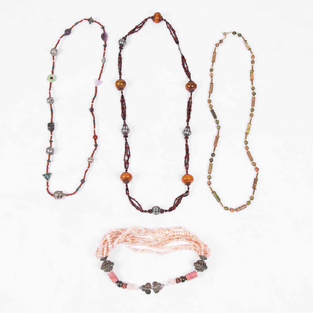 A Group of Four Beaded Hardstone, Glass and Pearl