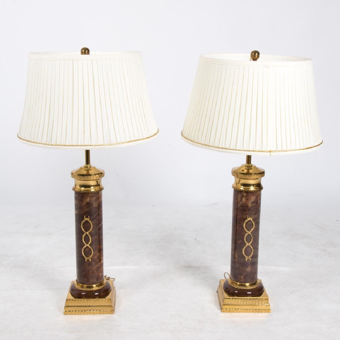 A Pair of Neoclassical Style Faux Marble and Brass
