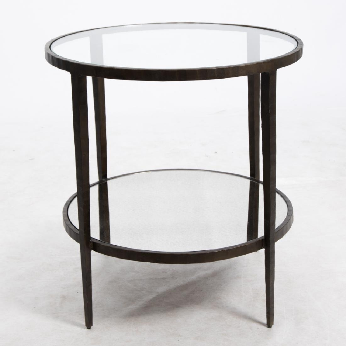 A Contemporary Metal and Glass Two Tier Circular Table